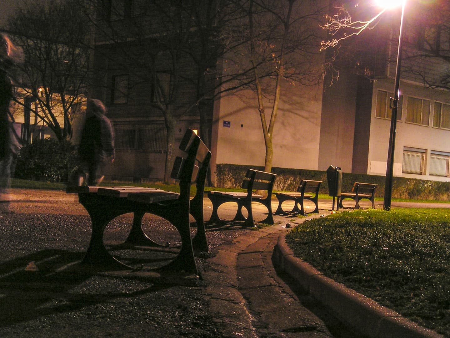 "Benches of the Olympic Village at ""Quartier Villeneuve"" by night in Grenoble, France"