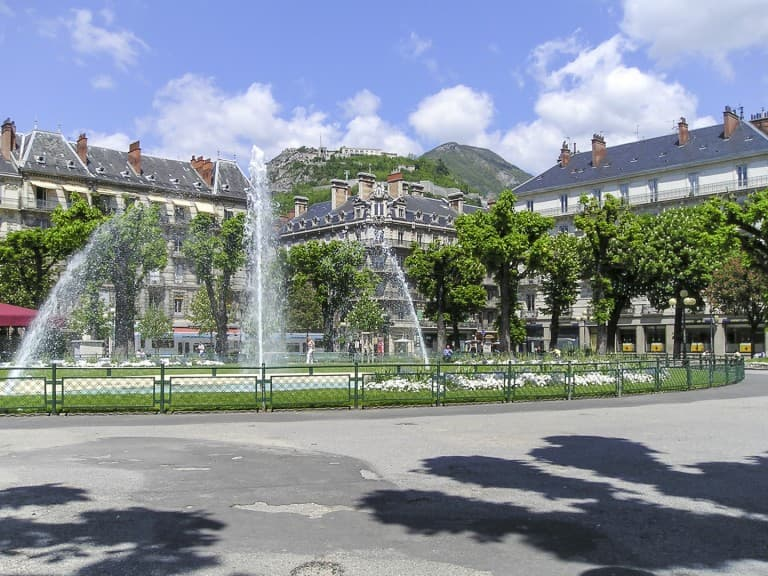 "Fountain at the ""Victor Hugo"" Square in Grenoble, France"