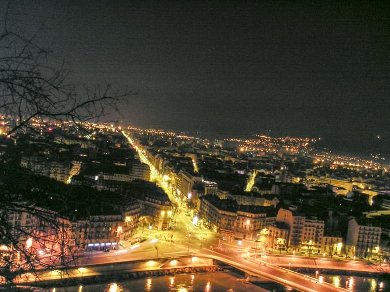 View of the Grenbole (France) from above by night