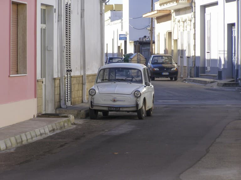 "Old ""Autobianchi Bianchina"" parked on the street of Veglie town in Puglia"