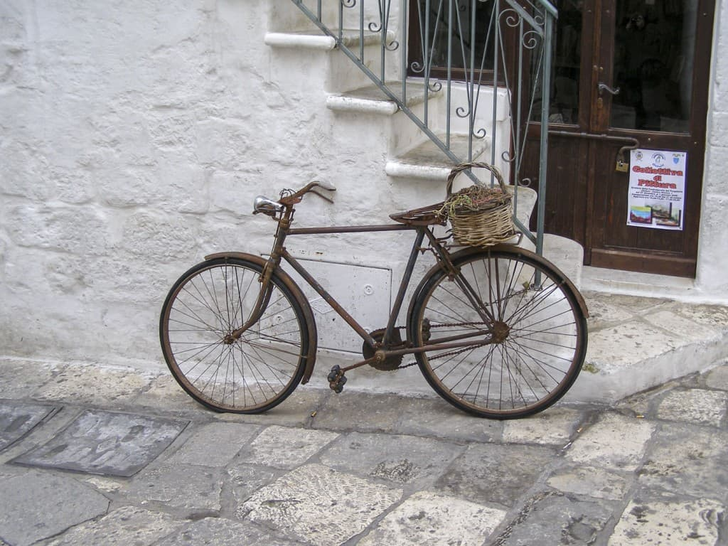 The bike parked on a street in Ostuni