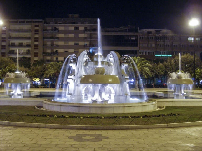 The fountains of Lecce at night