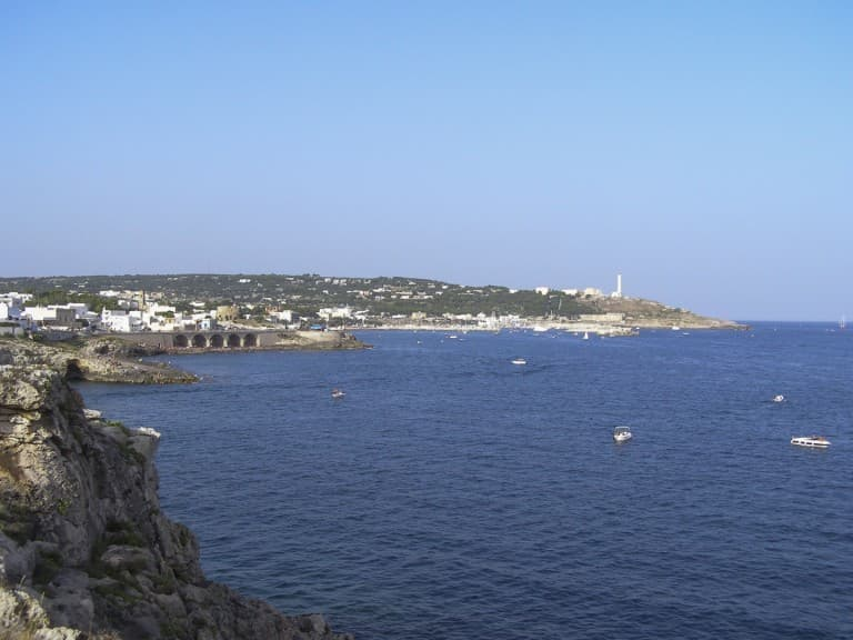 View of the sea and the lighthouse of the tip of Santa Maria di Leuca in Puglia