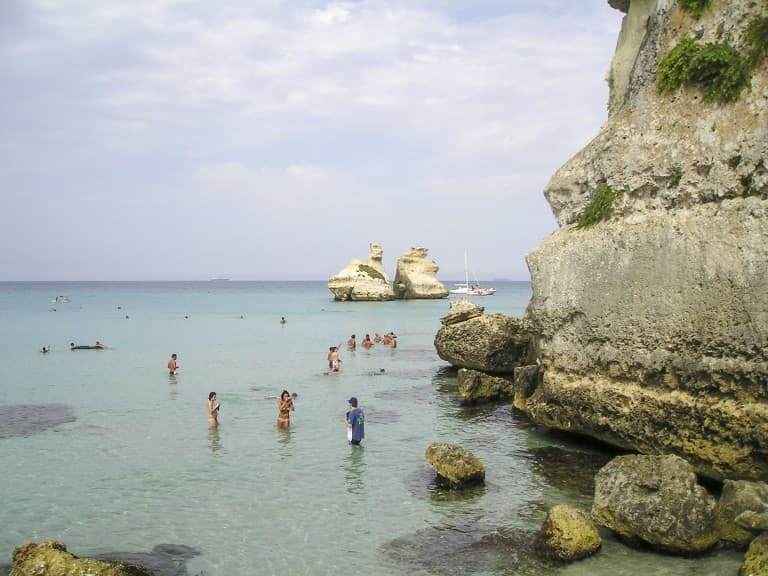 The sea of Salento and the rocks near the village Torre dell'Orso