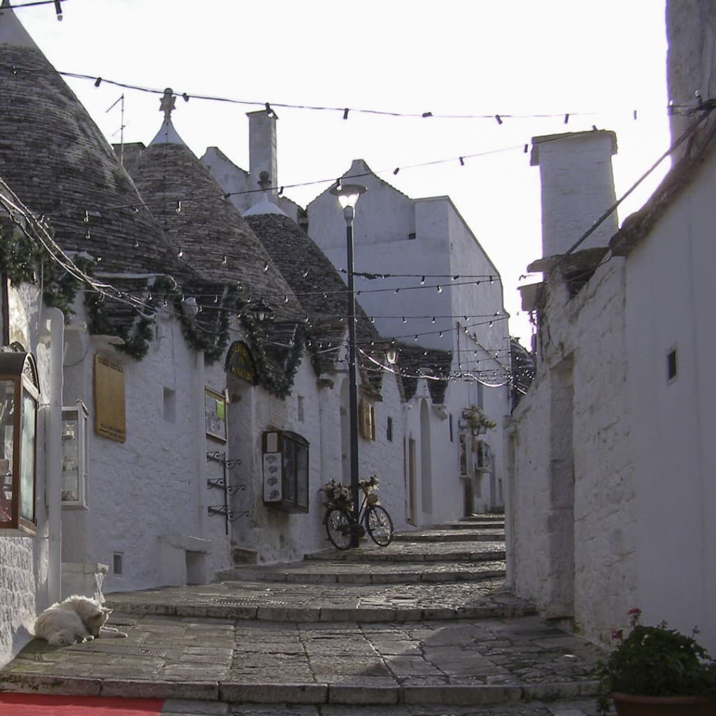 The street with the «Trulli» in the white city of Alberobello