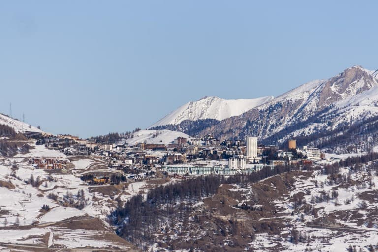 The view of the hill and the city of Sestriere from Bousson