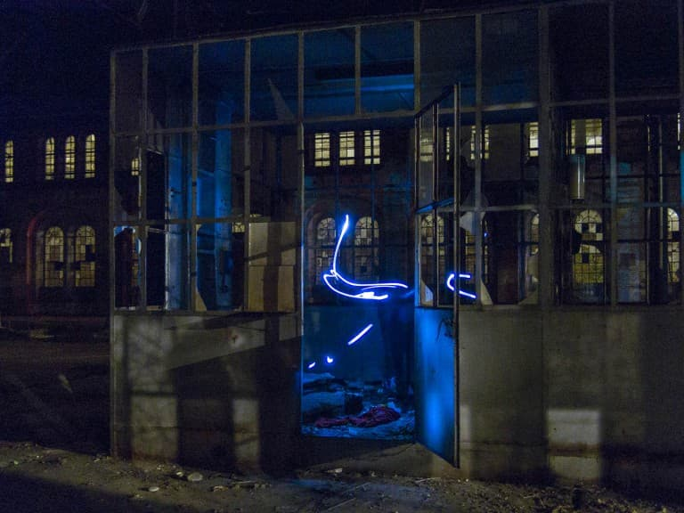 Light Painting at the Abandoned Train Repairing Workshop in Turin, Italy