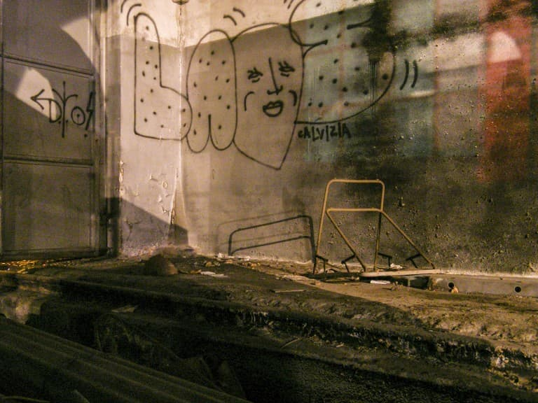 Graffiti at the Abandoned Train Repairing Workshop in Turin, Italy