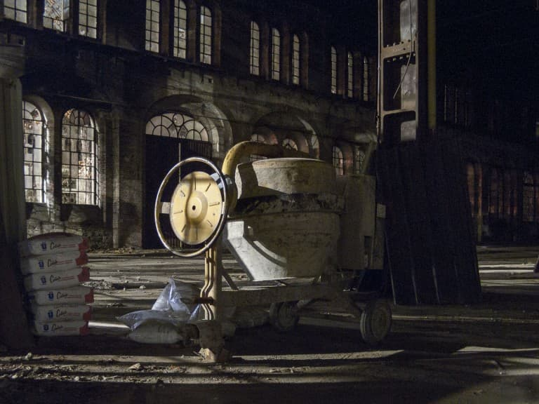 A Cement Mixer at the Abandoned Train Repairing Workshop in Turin, Italy