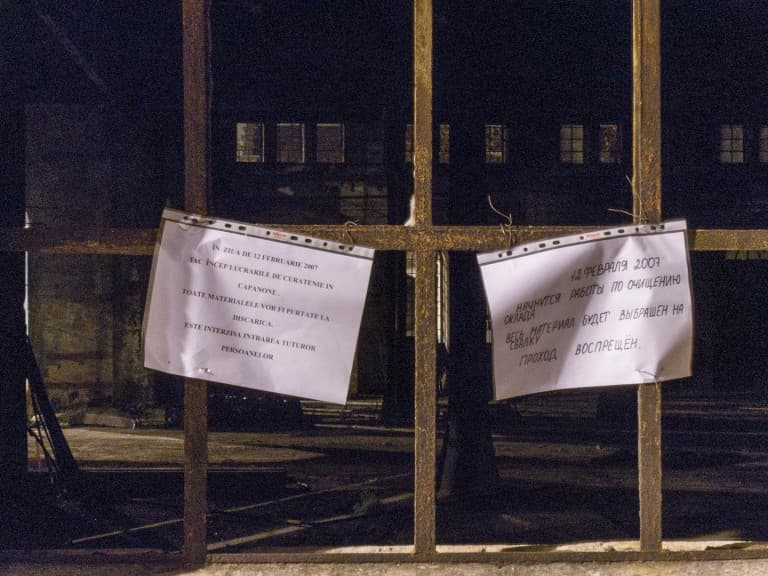 Messages for Homeless at the Abandoned Train Repairing Workshop in Turin, Italy