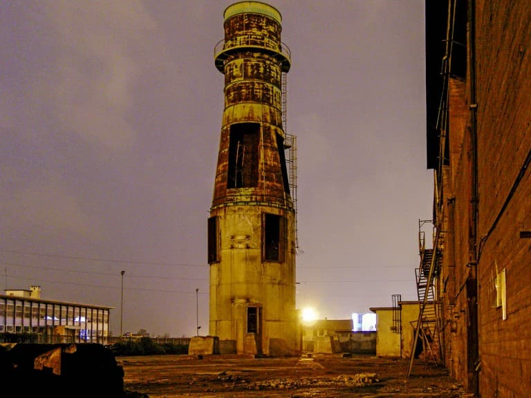 "Abandoned ""Lucchini"" steel mill in Turin, Italy by night"