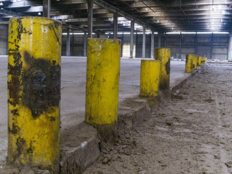Yellow Stakes at Unknown Abandoned Factory in Nichelino, Italy