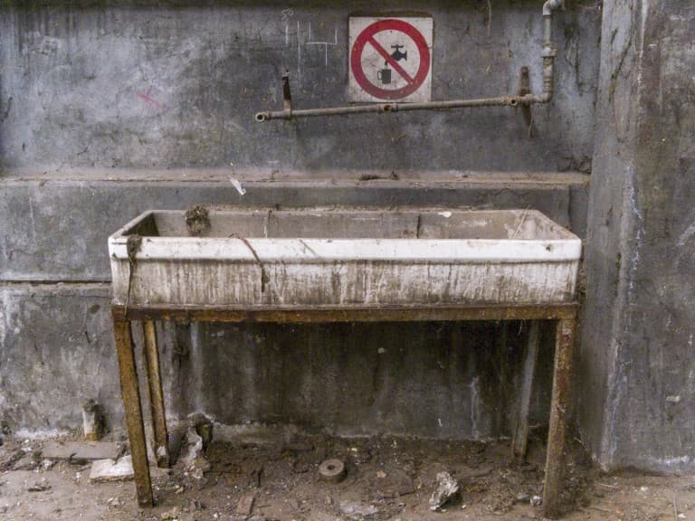 Sink at Unknown Abandoned Factory in Nichelino, Italy
