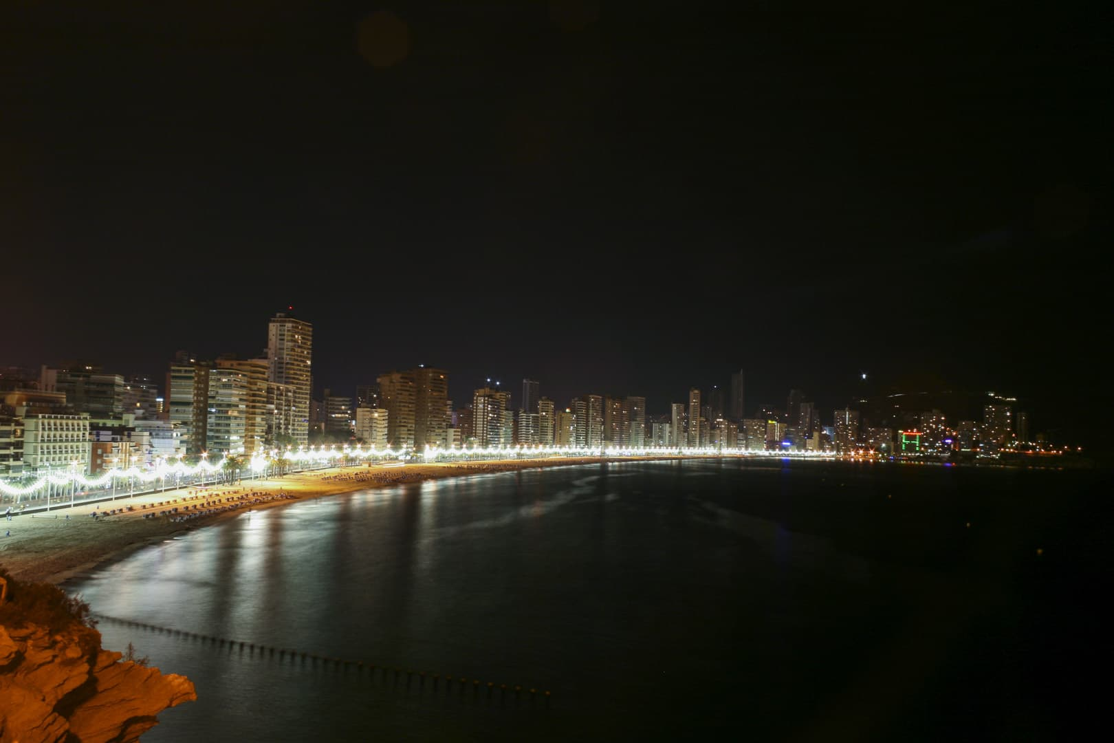 Benidorm (Alicante) – Spain, Main Beach and City Skyline by Night
