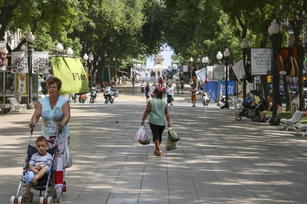 The main pedestrian street of Tarragona called Rambla Nova