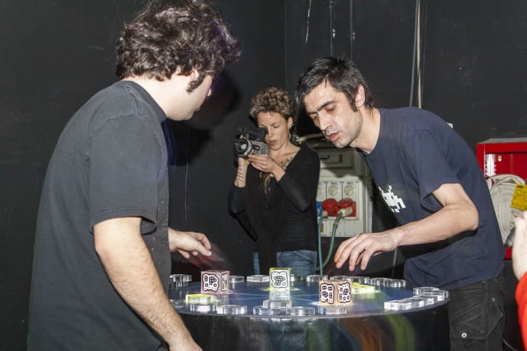 Guys Playing Electronic Music on Reactable Live at Hiroshima Mon Amour in Turin, Italy