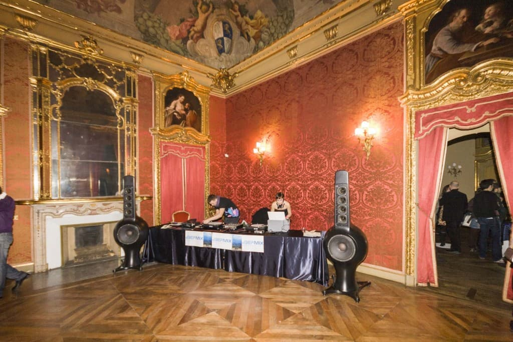 Andrey Pushkarev is preparing for Dj set at Palazzo Saluzzo Paesana in Turin, Italy