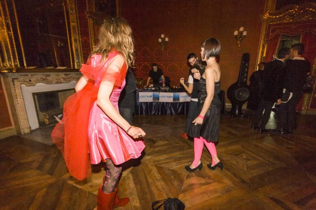 People are Dancing at Palazzo Saluzzo Paesana in Turin, Italy