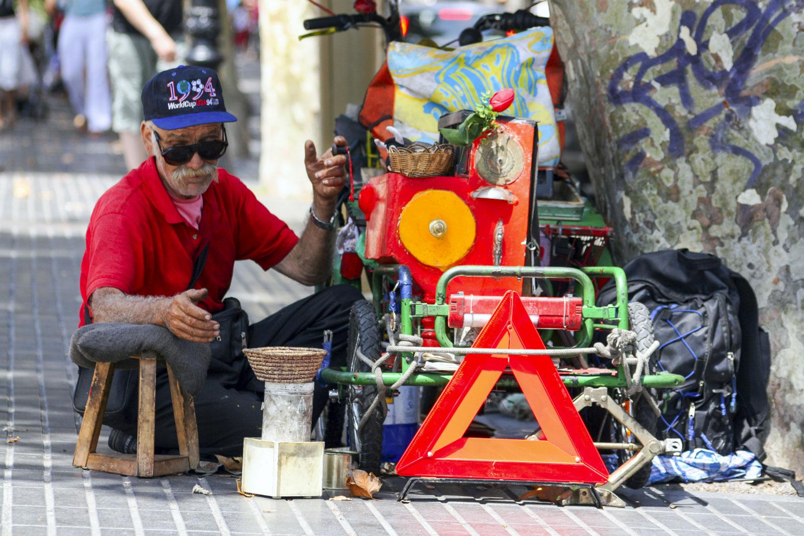 Las Ramblas Street Performers in Barcelona, Spain