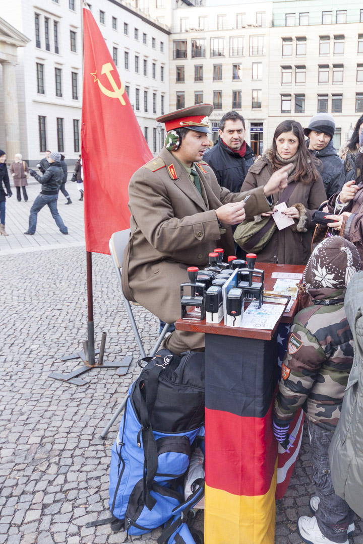 Street Performer Putting Unofficial Passport Stamps in Berlin – Germany