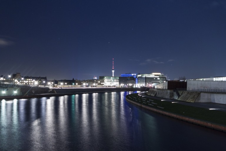Night View from the Gustav-Heinemann-Brücke in Berlin – Germany