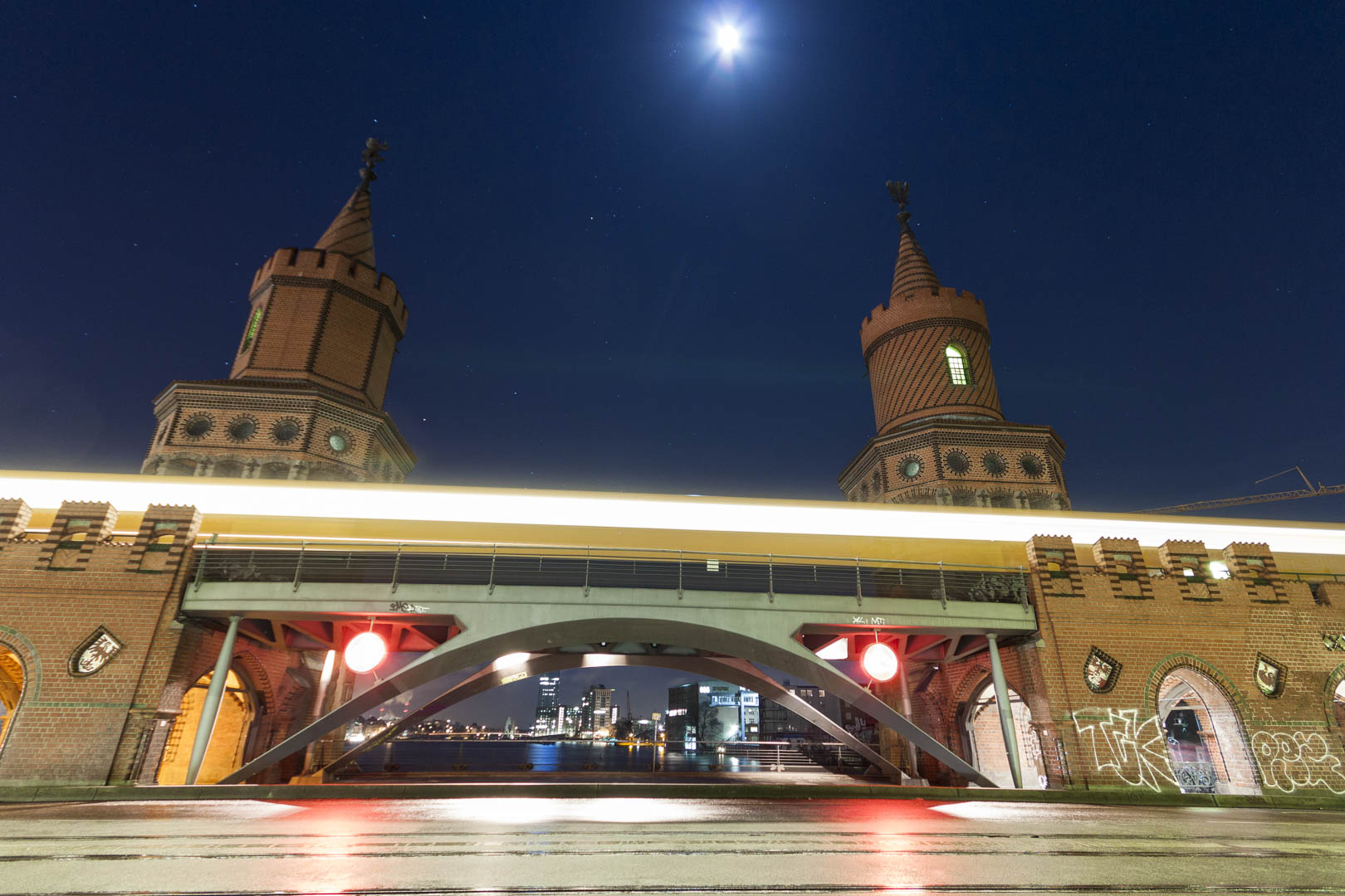 Oberbaum Bridge by Night in Berlin – Germany