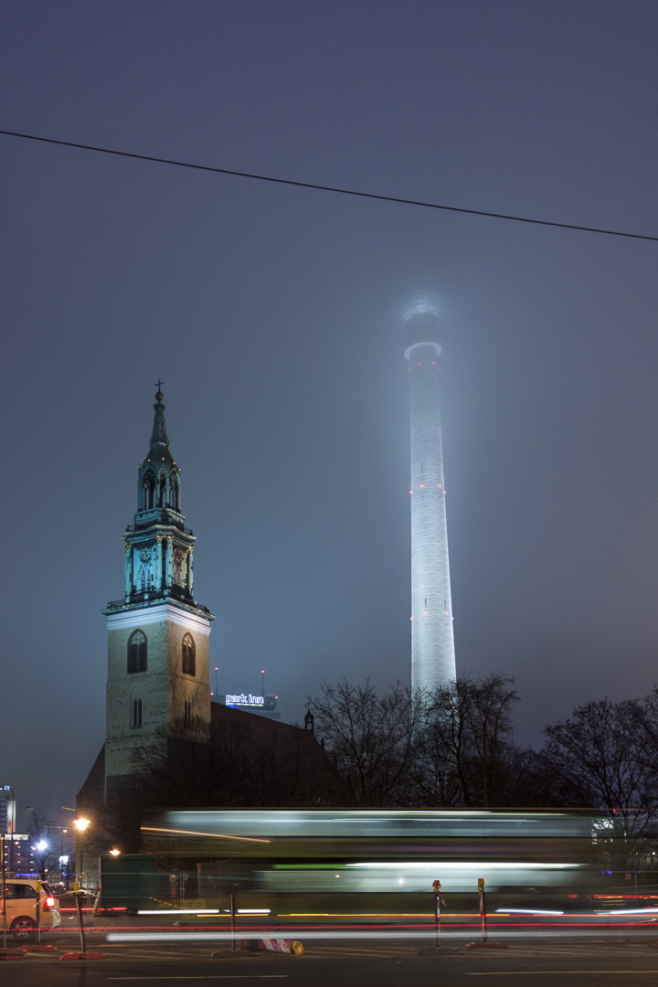 St. Mary's Church and Berliner Fernsehturm in Berlin – Germany