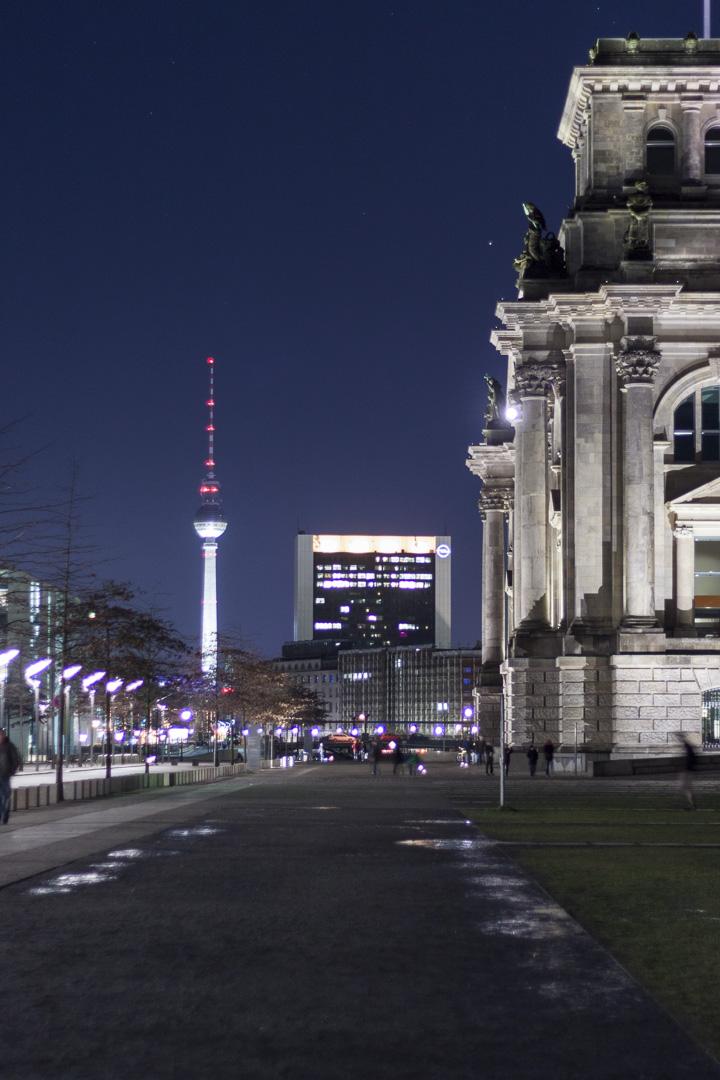 Berliner Fernsehturm, Opel Hauptstadt Repräsentanz and Reichstag Building in Berlin Germany
