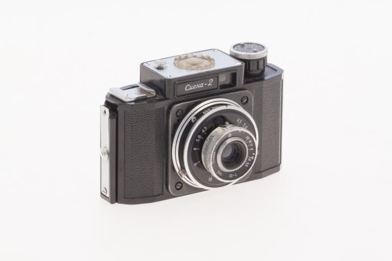 Smena 2 (Смена) – Soviet 35mm Compact Film Camera Front-Side View