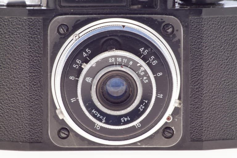 Smena 2 (Смена) – Soviet 35mm Compact Film Camera Front View of Triplet 22 Lens