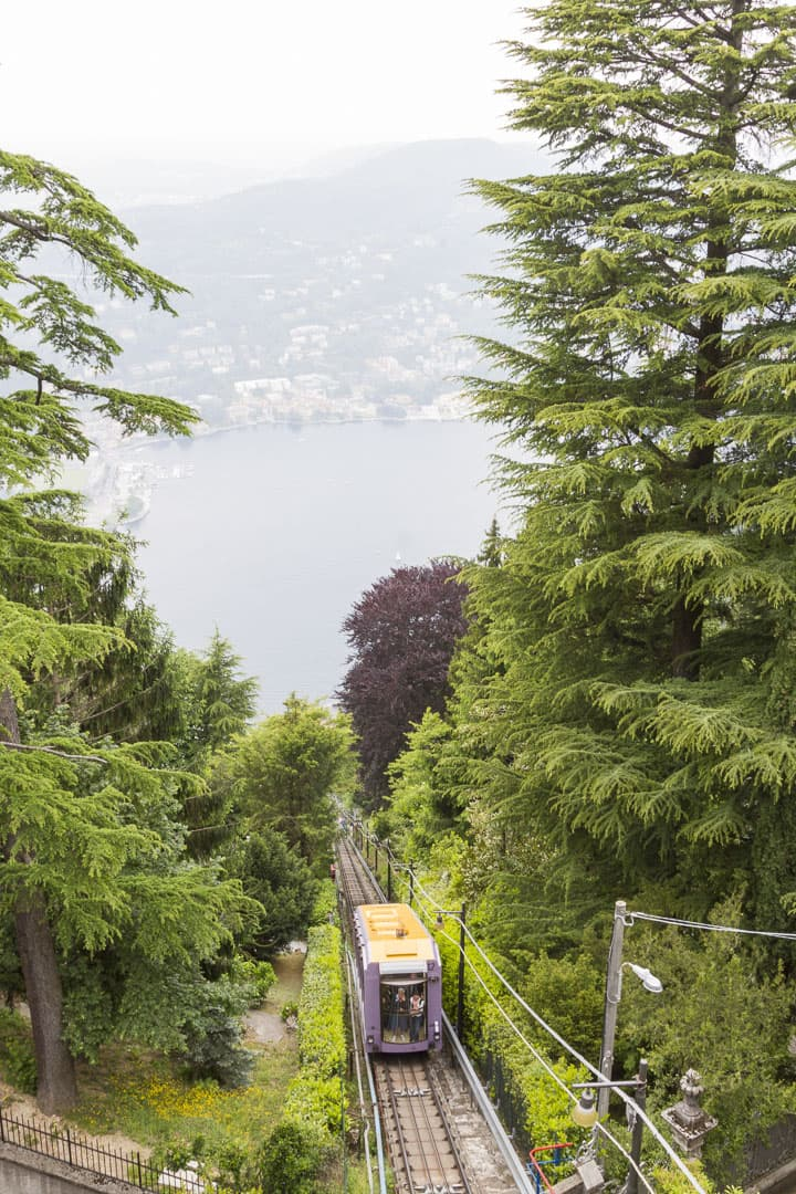 Funicular Going Up from Como to Brunate in Italy