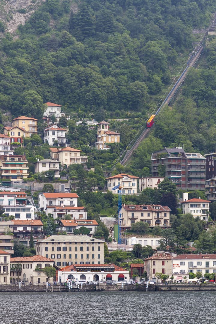 Funicular Running Beetwen Como Lake City and Brunate, Italy