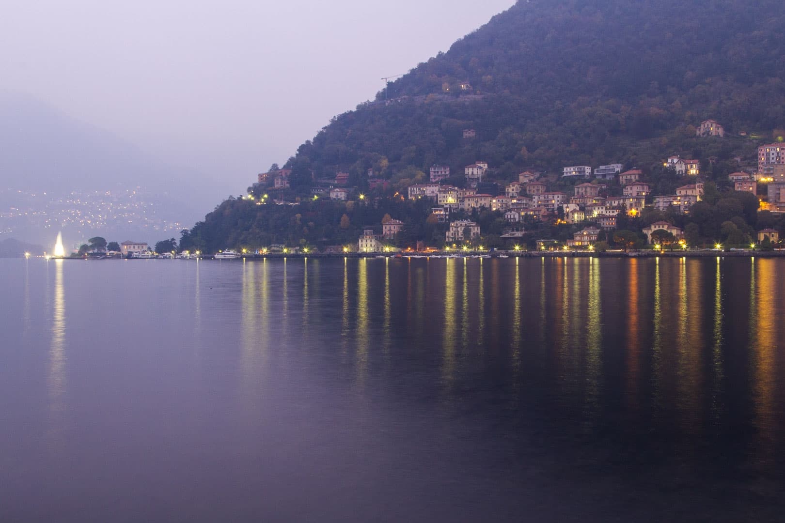 Como Lake in Italy by Night
