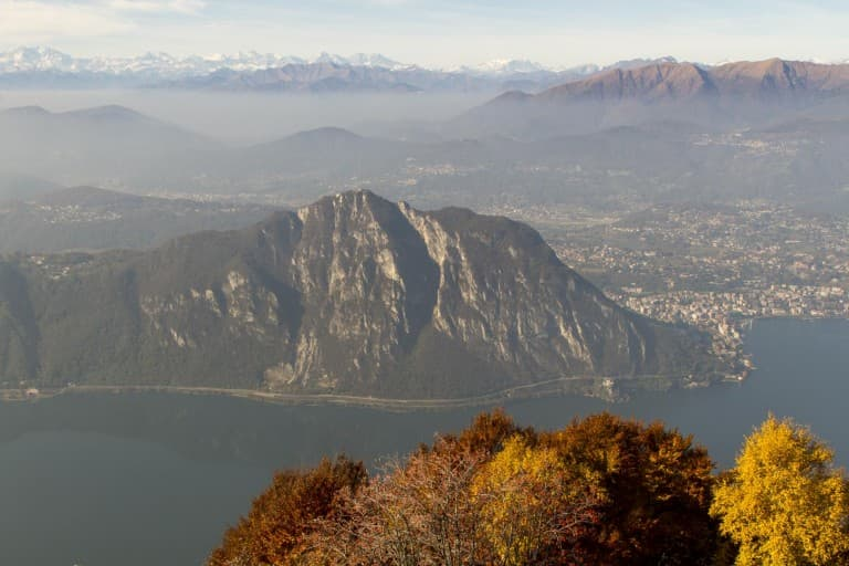 Lugano Lake in Switzerland and Alps, View from the Italian Side
