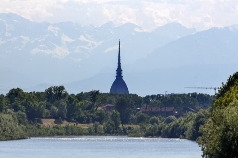 Mole Antonelliana shape view from San Mauro – Turin, Italy