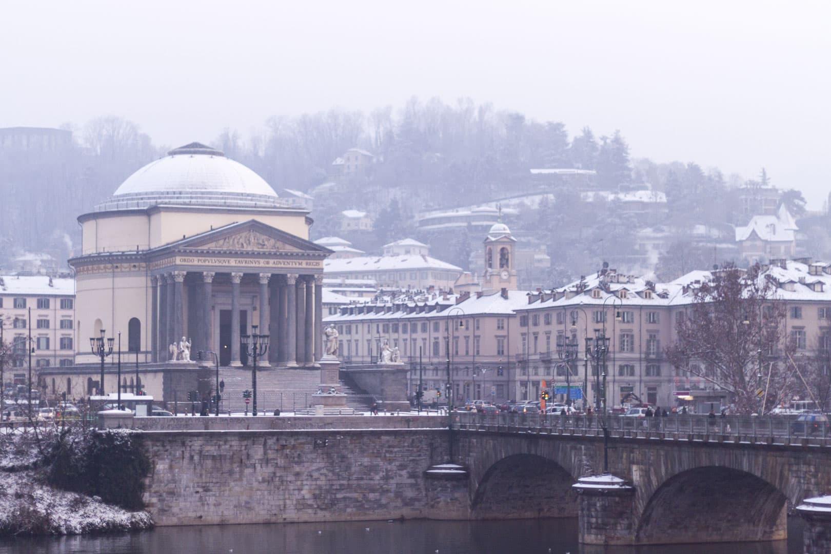 Snowy Gran Madre di Dio church – Turin, Italy