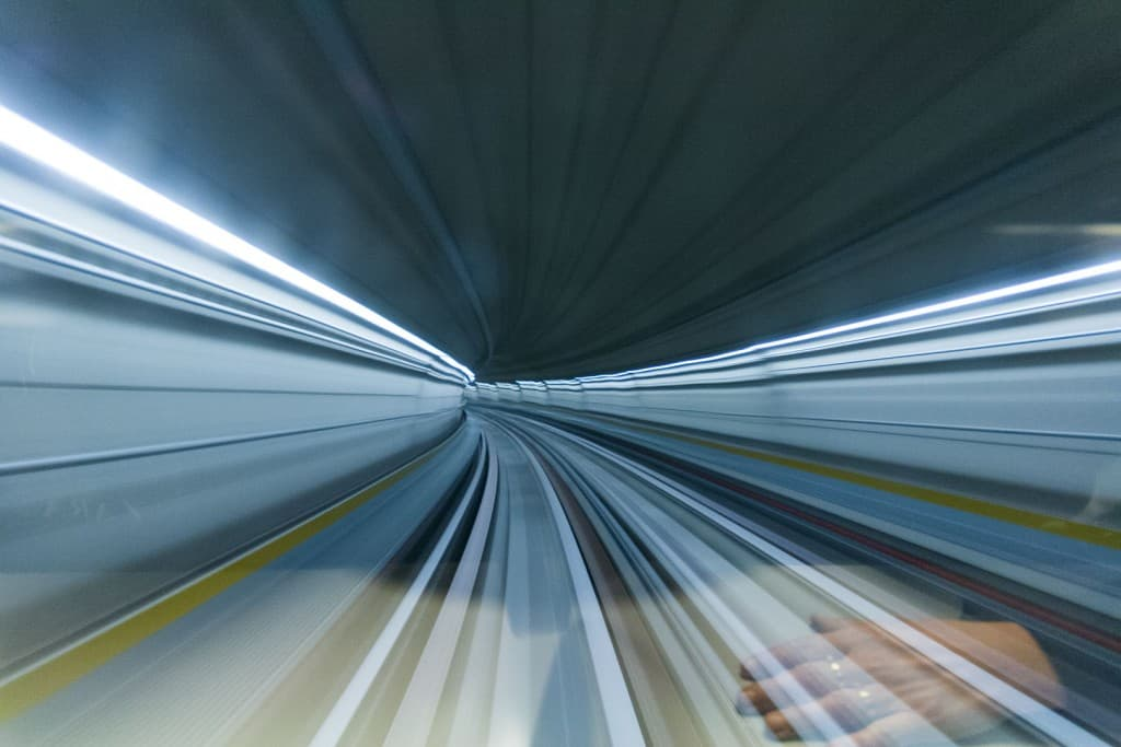 The subway tunnel in speed – Turin, Italy