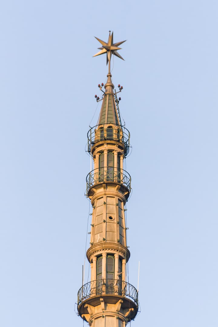 The tip with the star of the Mole Antonelliana – Turin, Italy