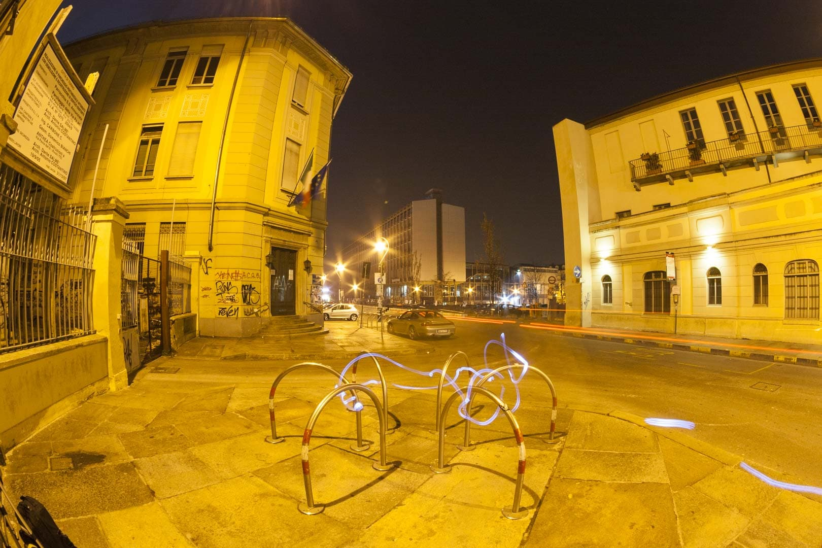 Palazzo Nuovo and light painting – Turin, Italy