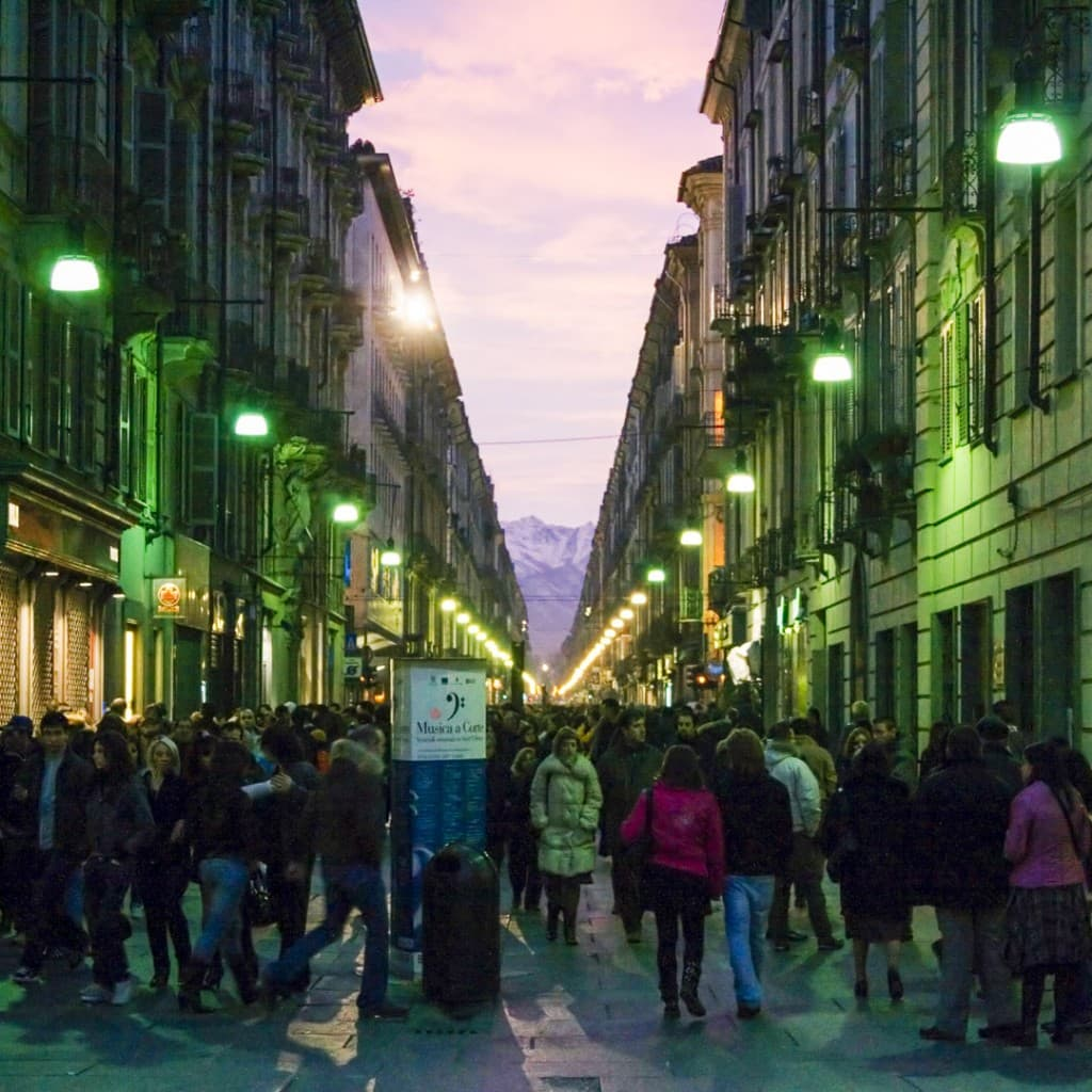 Via Garbibaldi full of people – Turin, Italy