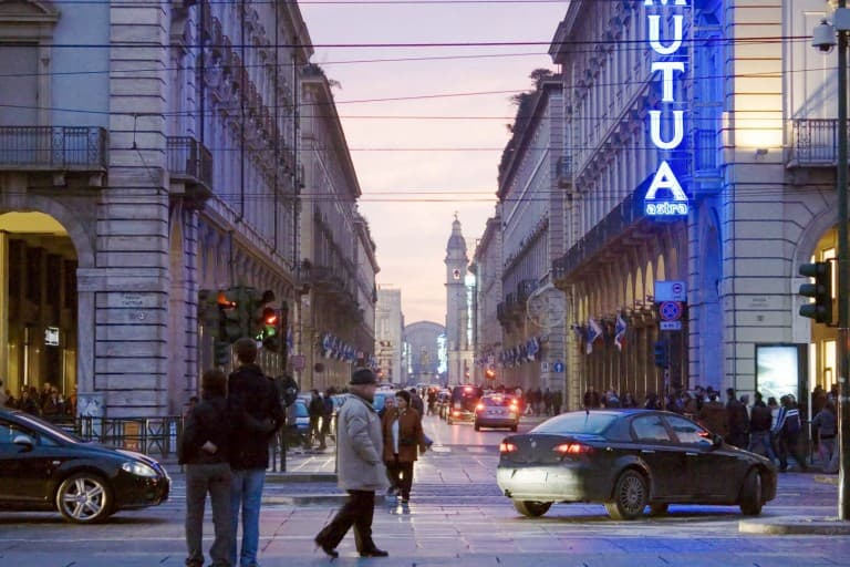 Via Roma in the evening – Turin, Italy