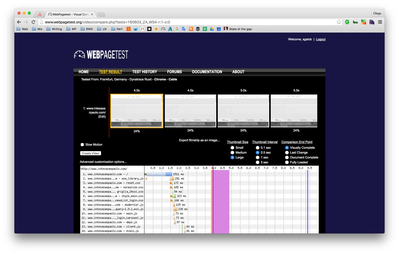 Filmstrip del test sintetico eseguito con WebPagetest.org del sito web della banca Intesa Sanpaolo