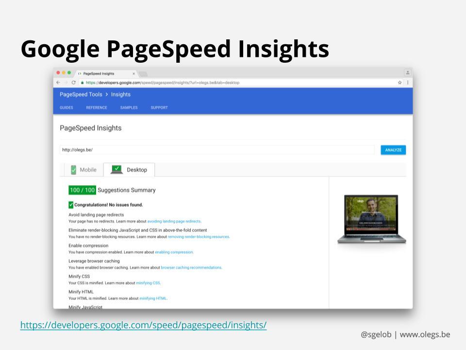 screenshot di Google PageSpeed Insights