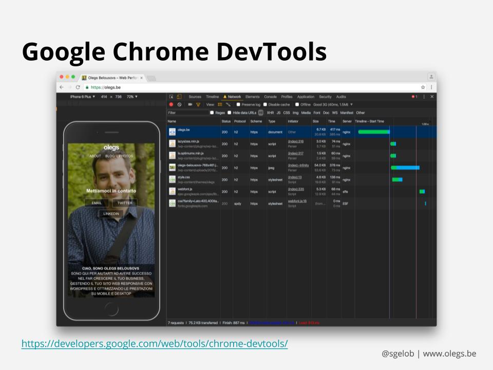 Screenshot di Google Chrome DevTools