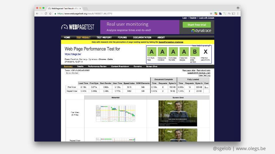 Gradi di ottimizzazione in WebPageTest